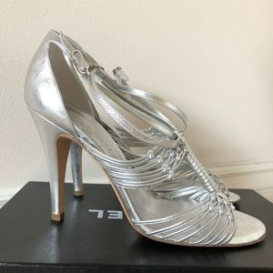 Authentic Chanel Silver Strappy Heels
